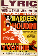 Magic Show Framed Prints - Poster For Hardeen Houdini, Brother Framed Print by Everett
