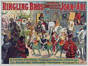 1910s Poster Art Framed Prints - Poster For Ringling Bros. Circus Framed Print by Everett