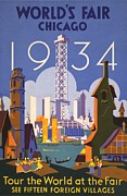 World Cities Posters - Poster For The 1934 Chicago Worlds Fair Poster by Everett