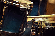 Drummer Photo Metal Prints - Posterized Drum Set Image Metal Print by Rebecca Brittain