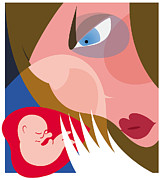 Depressed Art Posters - Postnatal Depression Poster by Paul Brown