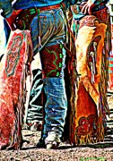 Sport Artist Digital Art Prints - Postured Cowboys ... Montana Art Photo Print by GiselaSchneider MontanaArtist