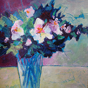 Florals Paintings - Posy in Magenta and Blue by Susanne Clark