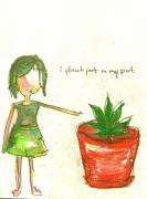 Sketchy Girl Pastels Posters - Pot in My Pot Poster by Ricky Sencion