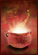 Hearts Digital Art - Pot Of Love - Card by Aimelle