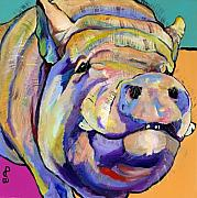 Pig Prints Paintings - Potbelly by Pat Saunders-White