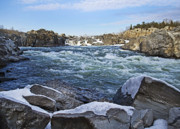 Great Falls Park Posters - Potomac River at Great Falls Winter Poster by Brendan Reals