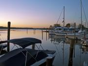 Docked Boats Prints - Potomac River at Sunrise Belle Haven Marina Alexandria Virginia Print by Brendan Reals