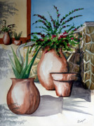 Terra Paintings - Pots and Bougainvillea by Kandyce Waltensperger