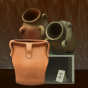 Water Vessels Digital Art Posters - Pots of Clay Poster by Sena Wilson