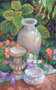 Garden Pastels Originals - Pots Petunias and Impatience by Rose Wark