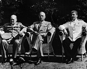 1945 Prints - POTSDAM CONFERENCE, 1945. Allied leaders at the Potsdam Conference in Germany, July 1945. From left: British Prime Minister Winston Churchill, U.S. President Harry Truman, and Soviet Premier Joseph Stalin Print by Granger