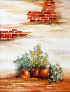 Italian Landscapes Paintings - Potted Flowers by Meg Keeling
