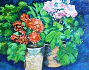 Unique Pastels Posters - Potted Flowers Poster by Unique Consignment