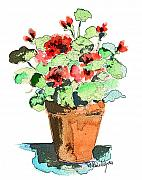 Potted Plants Prints - Potted Geraniums Print by Arline Wagner