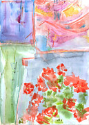 Red Geraniums Prints - Potted Geraniums Print by Mary Timm