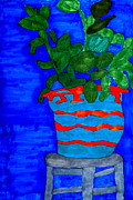 Chair Drawings Originals - Potted Plant in Blue by Stephanie Ward