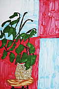 Red Leaf Drawings - Potted Plant Still Life by Stephanie Ward