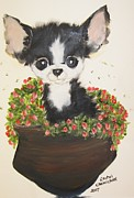 Chihuahua Framed Prints - Potted Pup Framed Print by Rachel Carmichael