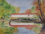 Indiana Autumn Painting Prints - Potters Bridge Print by Anita Riemen