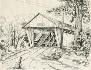 Indiana Drawings Prints - Potters Covered Bridge Print by Michael Scherer