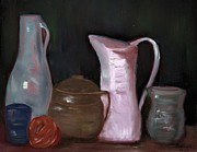 Pitchers Painting Metal Prints - Pottery - Vases and Pitchers - Still Life Metal Print by Bernadette Krupa