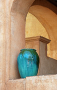Blue Vase Metal Prints - Pottery and Archways Metal Print by Sandra Bronstein