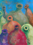 Jugs Prints - Pottery Chorus Print by Christine Peterson