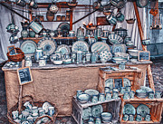 Tableware Digital Art - Pottery Market by Jutta Maria Pusl