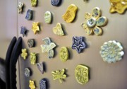 Butterfly Ceramics - Pottery Refrigerator Magnets by Amanda  Sanford