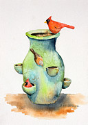 Pottery Vase And Birds Print by Arline Wagner