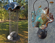 Signed Ceramics Originals - Pottery Wire Bird Feeder by Amanda  Sanford