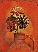 Handmade Digital Art Posters - Pottery with Dried Flowers Poster by Marsha Heiken