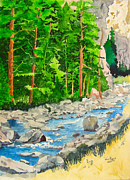 Poudre River Painting Prints - Poudre Canyon two Print by Tom Riggs