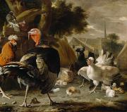 Cockerel Paintings - Poultry Yard by Melchior de Hondecoeter