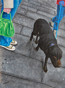 Dog Walking Prints - Pounding The Pavement Print by Ashley  Brayson