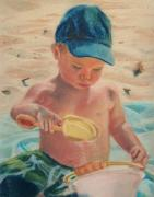 Beach Prints Pastels Prints - Pouring Sand Print by Lisa Pope
