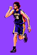 Los Angeles Lakers Metal Prints - Pow Metal Print by Jack Perkins