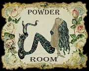 Vintage Rose Prints - Powder Room Vintage Mermaid Print by Sylvia Pimental