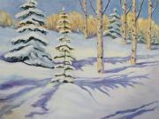 Ski Painting Originals - Powder Shot by Zanobia Shalks