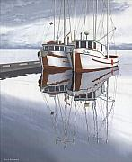 Trawler Painting Posters - Powell River fishing boats Poster by Gary Giacomelli