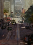 Union Square Painting Prints - Powell Street Morning Print by Heather Burton