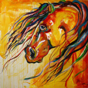Red Horse Paintings - Power and Might by Laurie Pace