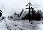 Winter Roads Art - Power And Telephone Lines Sagging by Everett