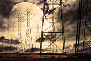 Mystical Landscape Framed Prints - Power Grid Framed Print by Wingsdomain Art and Photography