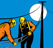 Telephone Digital Art Posters - Power Lineman Telephone Repairman Electrician Poster by Aloysius Patrimonio
