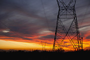 Powerline Prints - Power Lines at Sunset Print by Dave & Les Jacobs