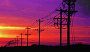 Technical Digital Art Posters - Power Poles and Lines into Distance 1 Poster by Steve Ohlsen