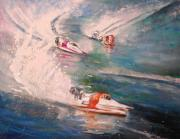 Portugal Art Paintings - Powerboat Racing in Portugal by Miki De Goodaboom