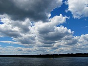 Seascape With Clouds Posters - Powerful Clouds Over Cape Cod Canal Poster by Annie Zeno